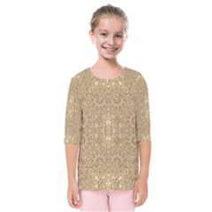 Ornate Golden Baroque Design Kids  Quarter Sleeve Raglan Tee