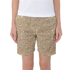 Ornate Golden Baroque Design Women s Basketball Shorts