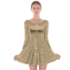 Ornate Golden Baroque Design Long Sleeve Skater Dress