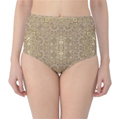 Ornate Golden Baroque Design High Waist Bikini Bottoms