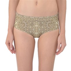 Ornate Golden Baroque Design Mid Waist Bikini Bottoms