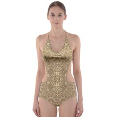Ornate Golden Baroque Design Cut Out One Piece Swimsuit