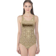 Ornate Golden Baroque Design One Piece Swimsuit