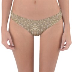 Ornate Golden Baroque Design Reversible Hipster Bikini Bottoms