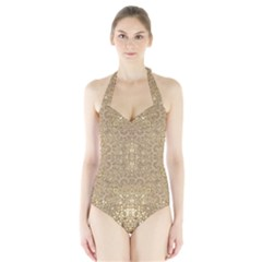 Ornate Golden Baroque Design Halter Swimsuit