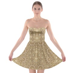 Ornate Golden Baroque Design Strapless Bra Top Dress
