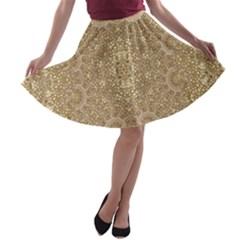 Ornate Golden Baroque Design A Line Skater Skirt