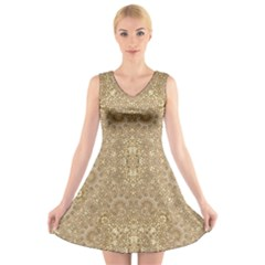 Ornate Golden Baroque Design V Neck Sleeveless Skater Dress