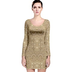 Ornate Golden Baroque Design Long Sleeve Velvet Bodycon Dress