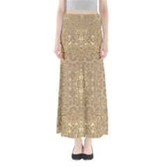 Ornate Golden Baroque Design Full Length Maxi Skirt