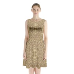 Ornate Golden Baroque Design Sleeveless Waist Tie Chiffon Dress