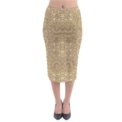 Ornate Golden Baroque Design Midi Pencil Skirt