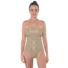 Ornate Golden Baroque Design Tie Back One Piece Swimsuit