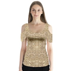 Ornate Golden Baroque Design Butterfly Sleeve Cutout Tee