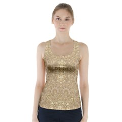 Ornate Golden Baroque Design Racer Back Sports Top