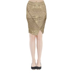 Ornate Golden Baroque Design Midi Wrap Pencil Skirt