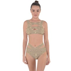 Ornate Golden Baroque Design Bandaged Up Bikini Set