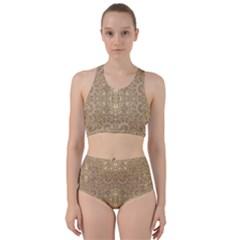 Ornate Golden Baroque Design Racer Back Bikini Set