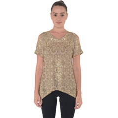 Ornate Golden Baroque Design Cut Out Side Drop Tee
