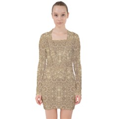 Ornate Golden Baroque Design V Neck Bodycon Long Sleeve Dress