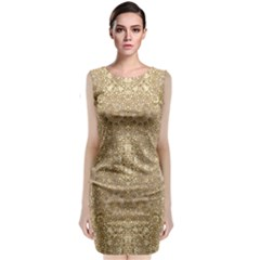 Ornate Golden Baroque Design Sleeveless Velvet Midi Dress