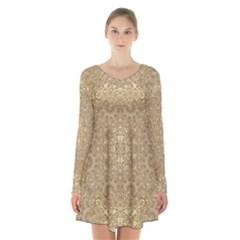 Ornate Golden Baroque Design Long Sleeve Velvet V Neck Dress