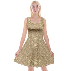Ornate Golden Baroque Design Reversible Velvet Sleeveless Dress