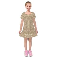 Ornate Golden Baroque Design Kids  Short Sleeve Velvet Dress