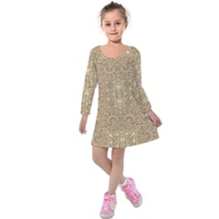 Ornate Golden Baroque Design Kids  Long Sleeve Velvet Dress