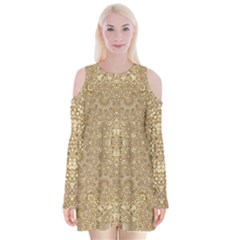 Ornate Golden Baroque Design Velvet Long Sleeve Shoulder Cutout Dress