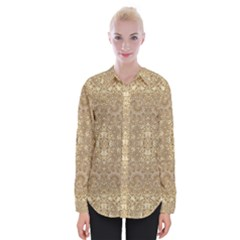 Ornate Golden Baroque Design Womens Long Sleeve Shirt