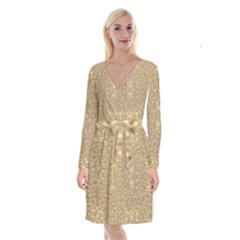 Ornate Golden Baroque Design Long Sleeve Velvet Front Wrap Dress