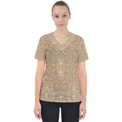 Ornate Golden Baroque Design Scrub Top