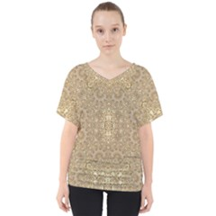 Ornate Golden Baroque Design V Neck Dolman Drape Top