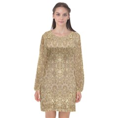 Ornate Golden Baroque Design Long Sleeve Chiffon Shift Dress
