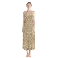 Ornate Golden Baroque Design Button Up Chiffon Maxi Dress