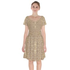 Ornate Golden Baroque Design Short Sleeve Bardot Dress