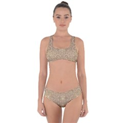 Ornate Golden Baroque Design Criss Cross Bikini Set