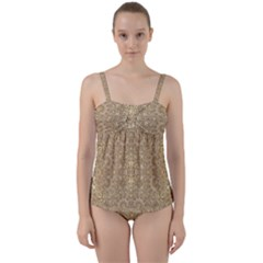 Ornate Golden Baroque Design Twist Front Tankini Set