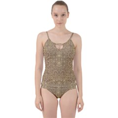 Ornate Golden Baroque Design Cut Out Top Tankini Set