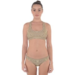 Ornate Golden Baroque Design Cross Back Hipster Bikini Set