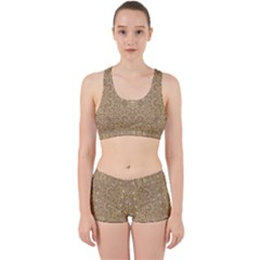 Ornate Golden Baroque Design Work It Out Sports Bra Set