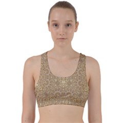 Ornate Golden Baroque Design Back Weave Sports Bra