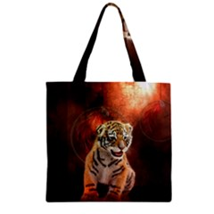 Cute Little Tiger Baby Zipper Grocery Tote Bag