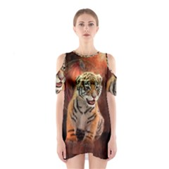 Cute Little Tiger Baby Shoulder Cutout One Piece
