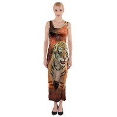 Cute Little Tiger Baby Fitted Maxi Dress