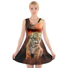Cute Little Tiger Baby V Neck Sleeveless Skater Dress