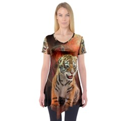 Cute Little Tiger Baby Short Sleeve Tunic