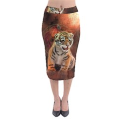 Cute Little Tiger Baby Midi Pencil Skirt