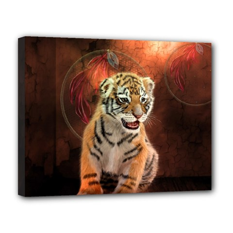 Cute Little Tiger Baby Canvas 14  X 11